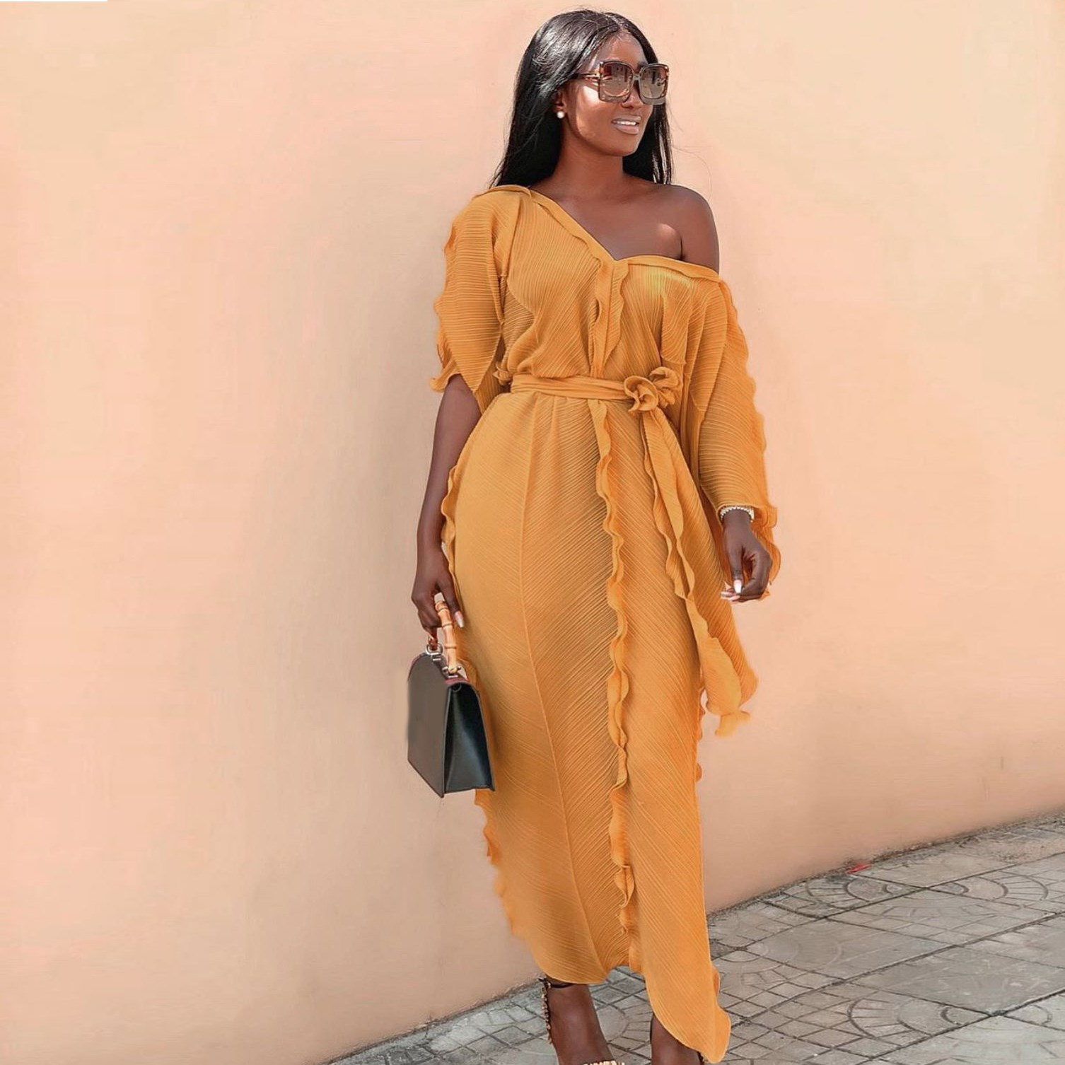 Loose Women Half Sleeve Ruffles Long Dress Casual Boho Style Party Beach Maxi Dress Fashion V Neck Oversized Falbala Dress 3