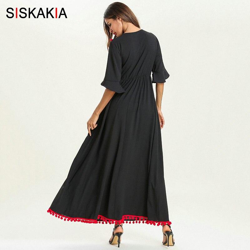 Siskakia Summer 19 Ethnic Women Long Dress Pompom Tassel Floral Embroidery Patchwork Design Maxi Dresses Swing Elegant Black 2