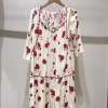 Women Half Sleeve Loose Mini Dress Red Flower Print V Neck High Waist Summer Dress