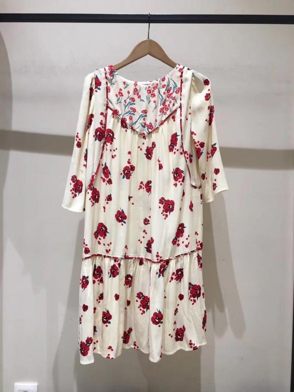 Women Half Sleeve Loose Mini Dress Red Flower Print V Neck High Waist Summer Dress