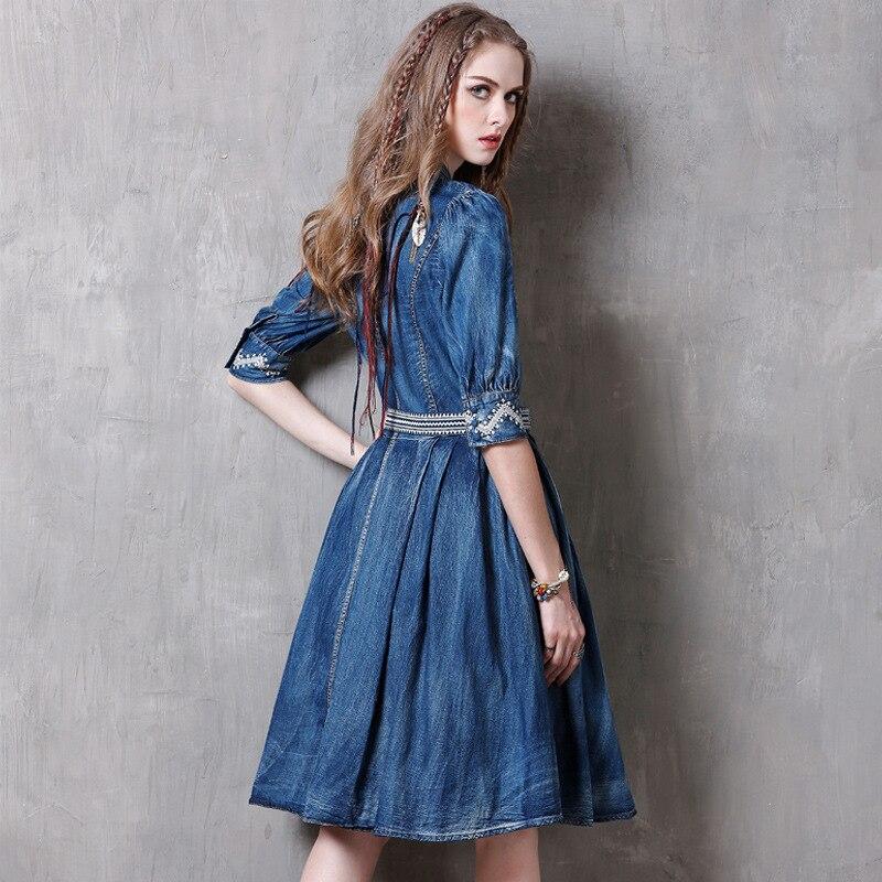 Summer Casual Vintage Women Designer Embroidery Sash Pleated Half Sleeve Denim Dress , 19 Woman Mandarin Collar Jeans Dresses 3