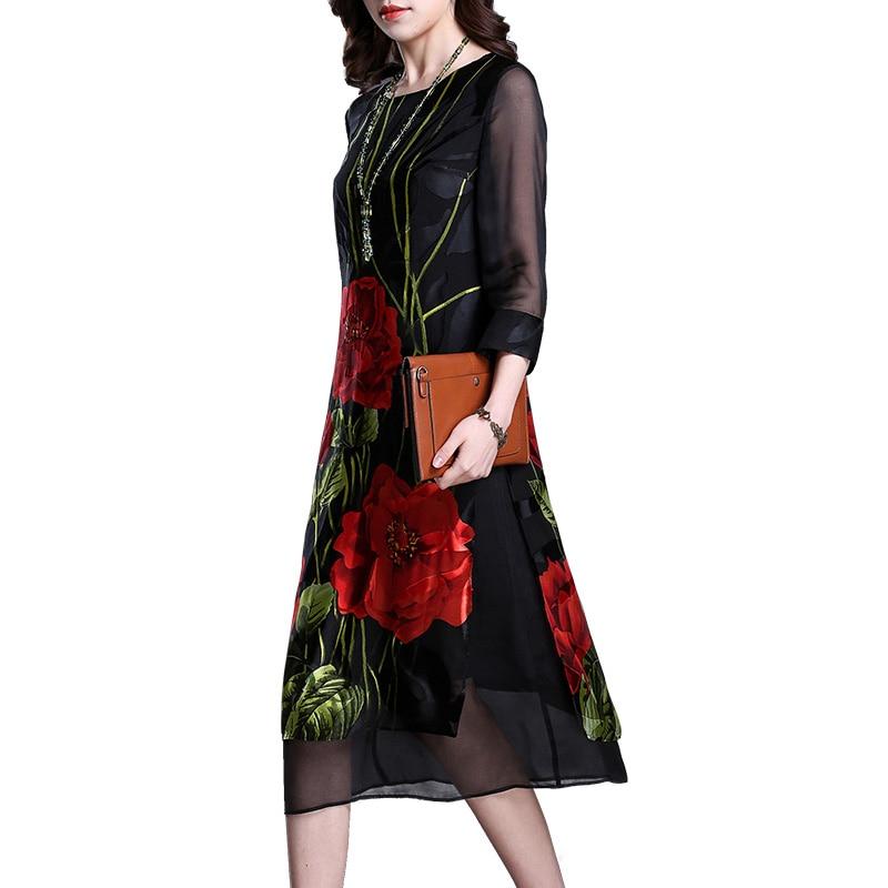Imitate Real Silk Dresses Plus Size Vintage Loose Women Print A-Line Dress New Pattern Half Sleeves Dress Lady Nightclub Costume 3