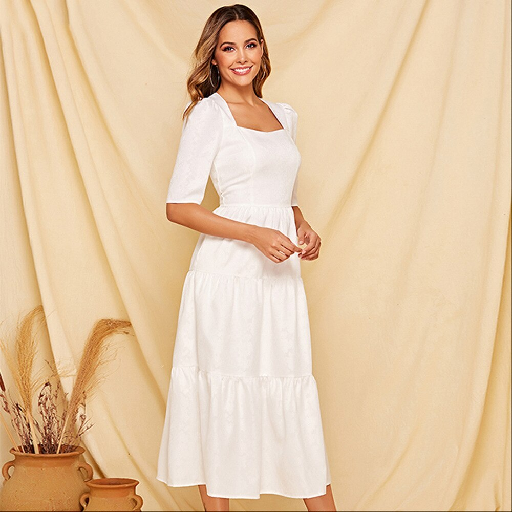 Summer A-line Elegant Temperament White Women Dress Square Collar Ladies Half Sleeve Maxi Dress Pure Color 19 Vestidos Largos 3
