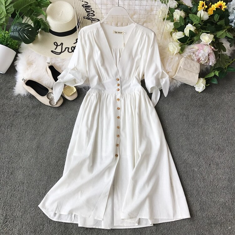 19 new fashion women's dresses Vintage half sleeve length summer dress white linen V-neck holiday 1