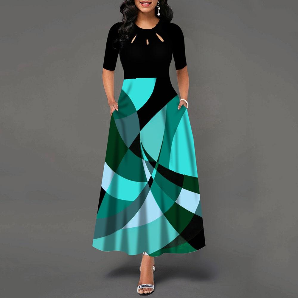 Half Sleeve Round Neck Bowknot Vintage A Line Printing Women Maxi Dress Standard-Waist Dress 19 Autumn Dress 2