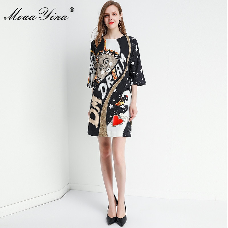 MoaaYina Fashion Designer dress Spring Summer Women's Dress Half sleeve Crystal Beading Loose Dresses 2
