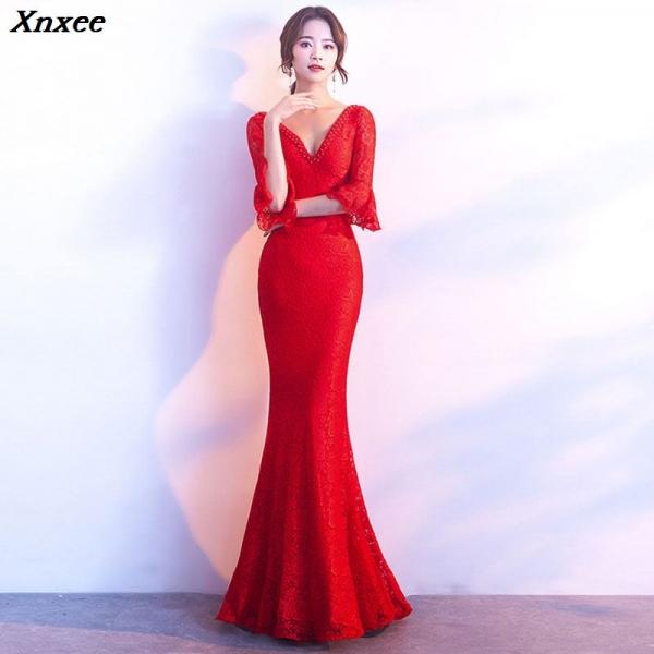 Xnxee Women Elegnat Red Lace Flare Half Sleeve Mermaid Long Prom Sexy Backless Club Party Dress Xnxee
