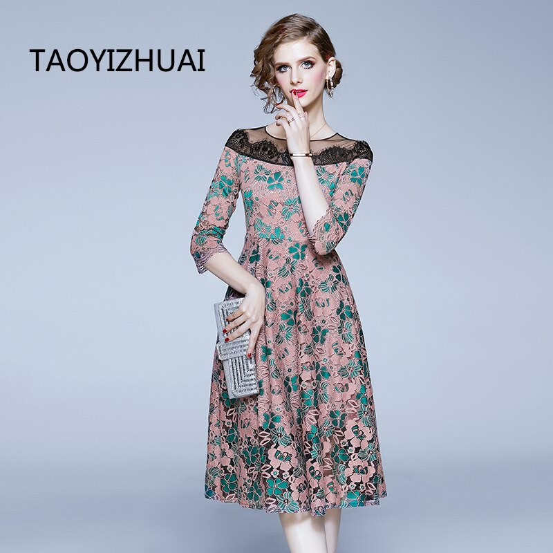 TAOYIZHUAI casual style women dress A-line nature waist rond neck half sleevs hollow out patchwork lady party fashion dress 1
