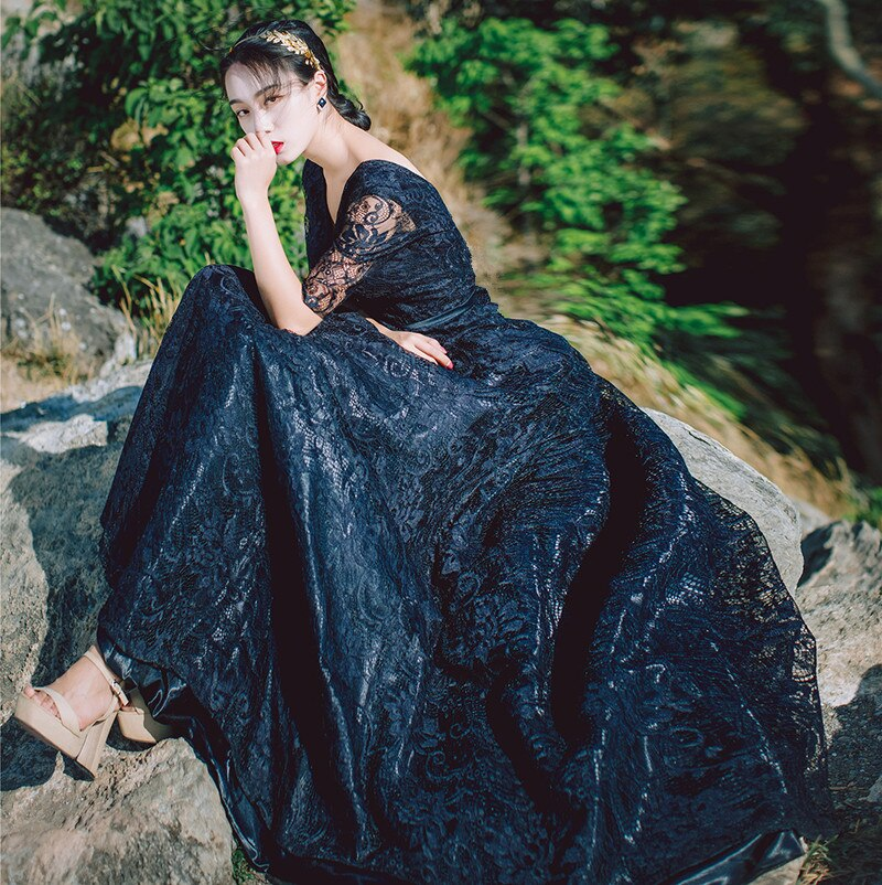 19 Spring New Gorgeous Embroidered Lace Ball Gown Party Dress V-neck Half Sleeve Black Maxi Dress Vestidos Mujer Robe Femme