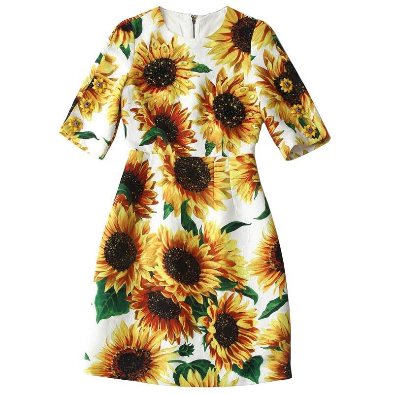 New 19 autumn winter women elegant party dress night jacquard floral beading a-line half sleeve elegant yellow dresses 2