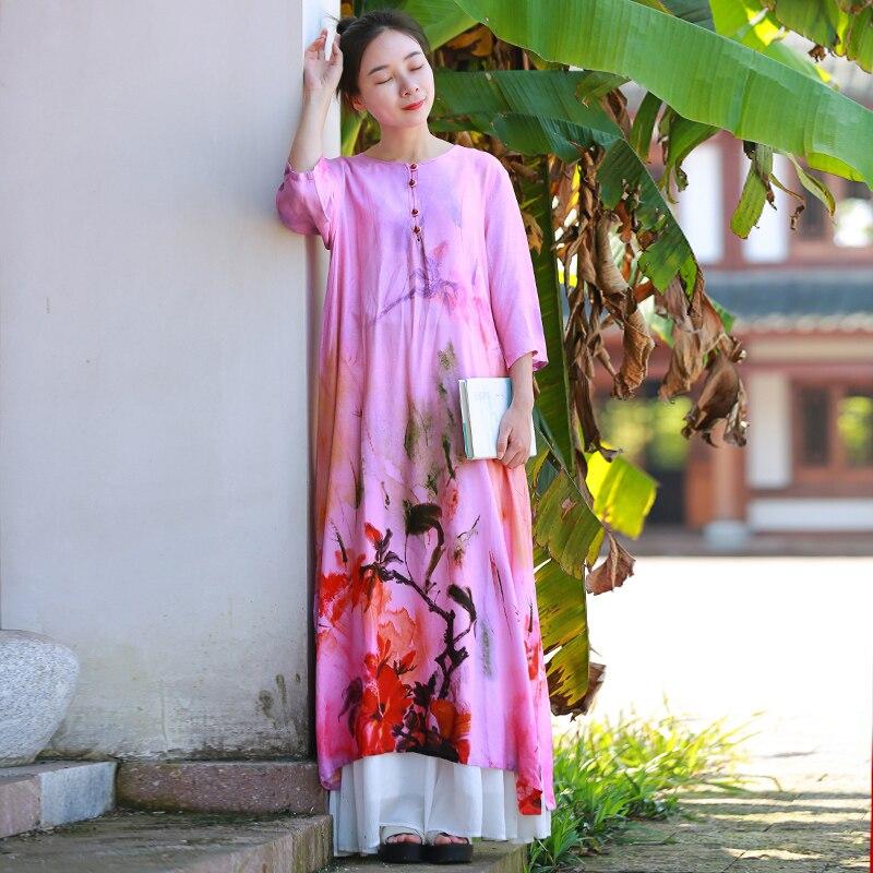 Hisenky 19 Summer Women Dress Chinese Style Cotton Linen Loose Dress Half Sleeves Flower Printed Vintage Long Dress Vestidos 2