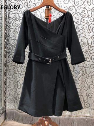 19 Autumn Winter Fashion Black Dress High Quality Ladies V-Neck Buckle Belt Half Sleeve Casual Party Sexy Short Dress Girl
