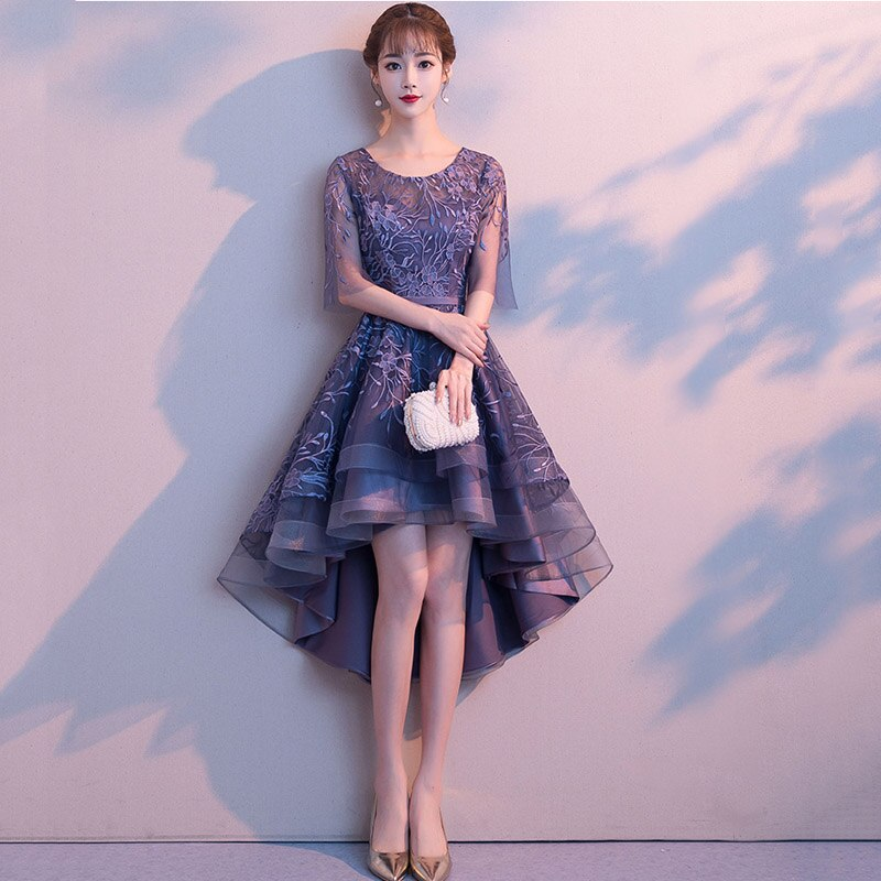 Blue Floral Appliques O-Neck Half Sleeve Front Short Back Long Women Sexy Dresses For Party Night Club Slim Elegant Dress 18 1