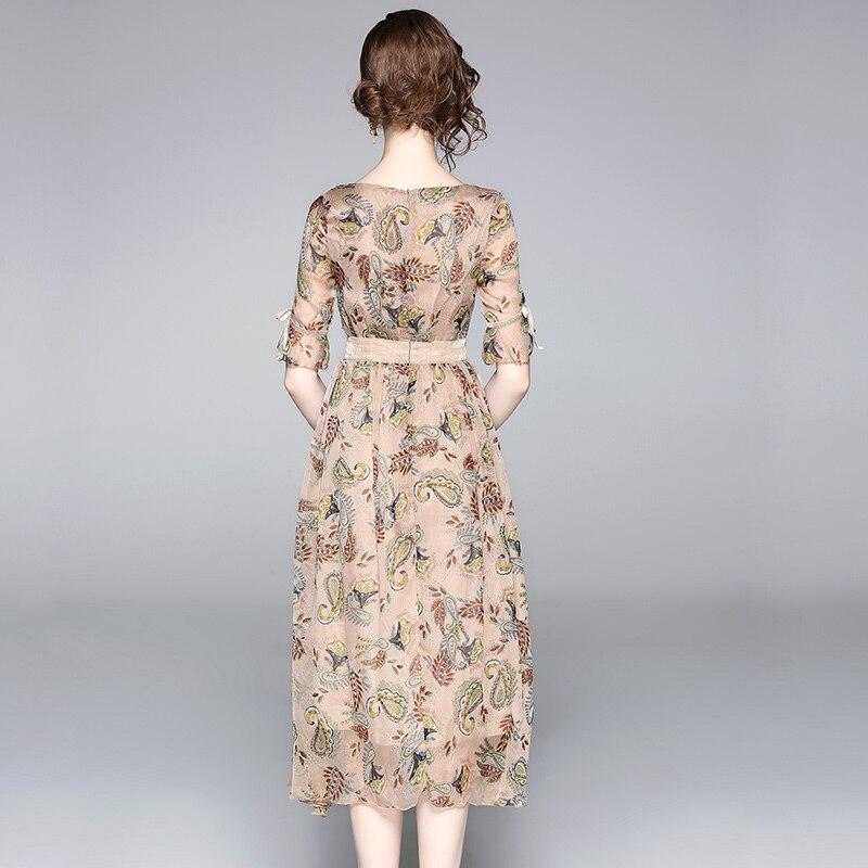 19 High quality luxury Runway Summer Chiffon Women Printed half Sleeve dress vestidos 3