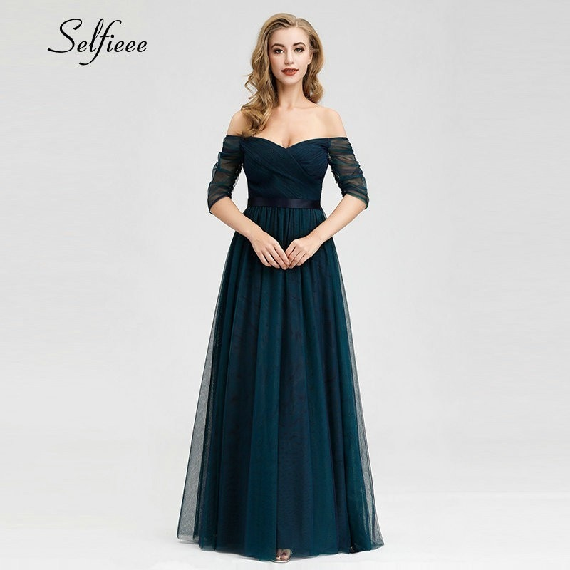 Elegant Long Women Dresses A-Line Solid Color Half Sleeve V-Neck Ladies Summer Maxi Dresses 19 Vestidos De Fiesta De Noche 3