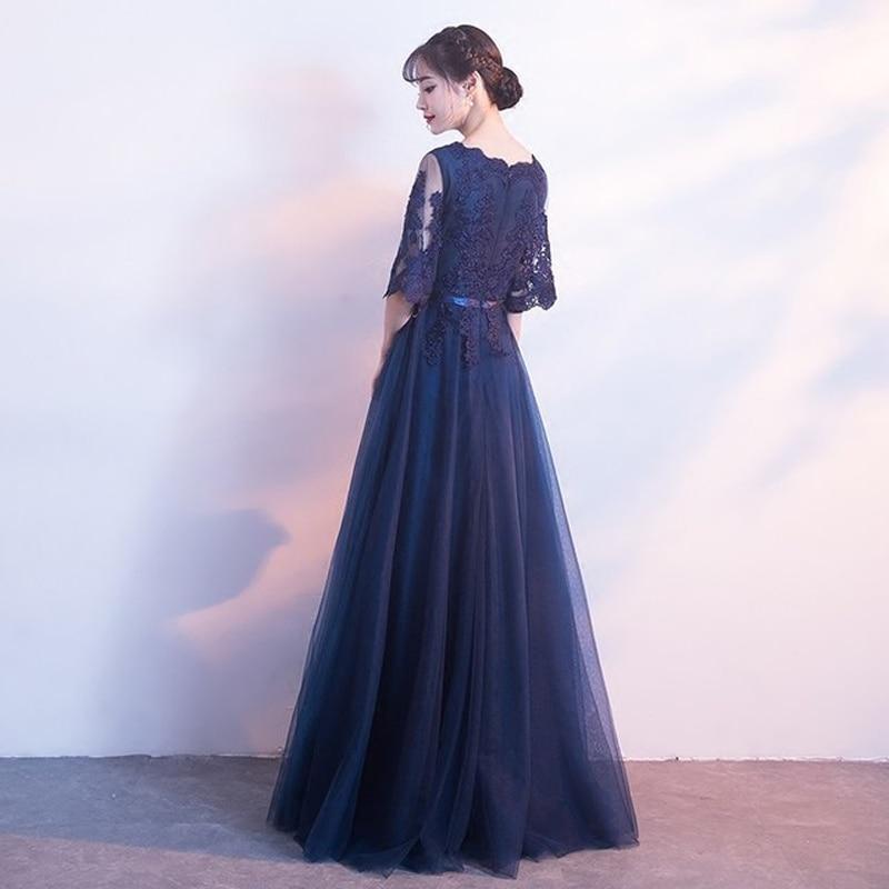 Navyblue Lace Banquet Evening Long Dress 19 Brand New Half Sleeve Dresses Elegant Princess Slim Long Vintage Style 2