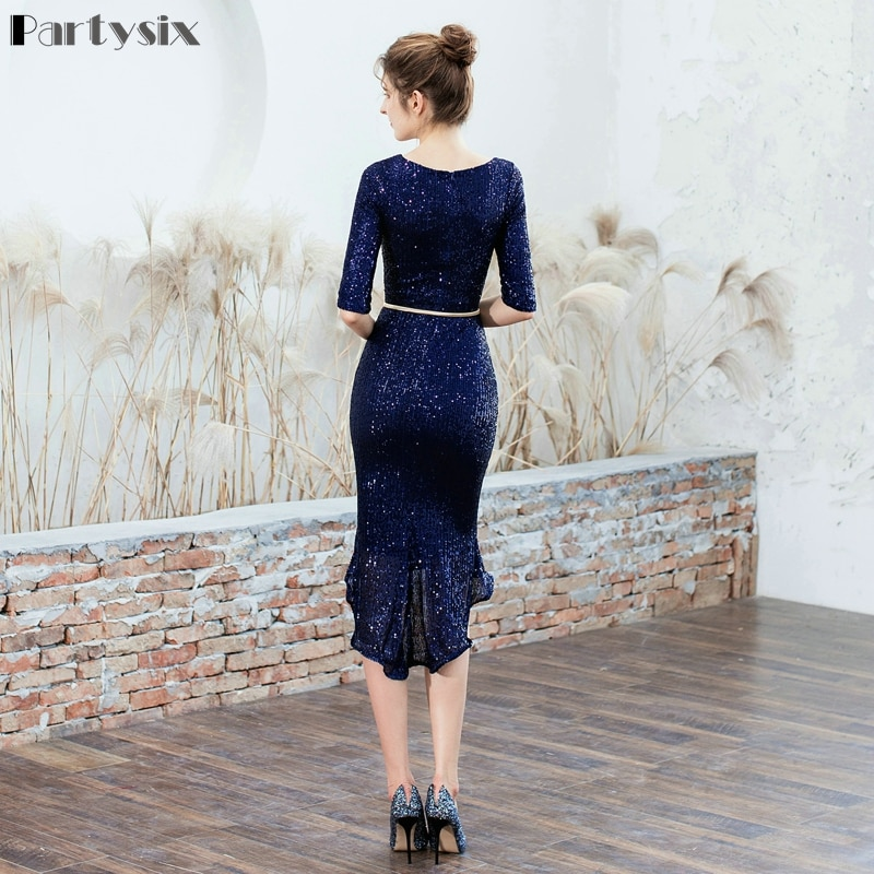 Partysix Women Half Sleeve Sequins Dress Elegant Party Dress With Belt 2