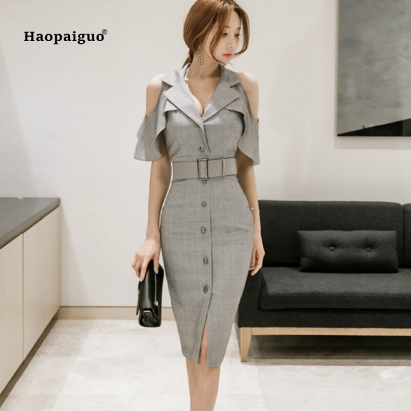 Plus Size Pencil Dress Summer Women Gray Half Butterfly Sleeve V-neck Knee-length Casual Office Lady Dress Elegant Party Dresses