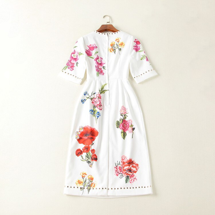 Women Dresses 18 High Quality Summer Runway O-Neck Half Sleeve Printed Beading Lady Dress NPD0776N 3