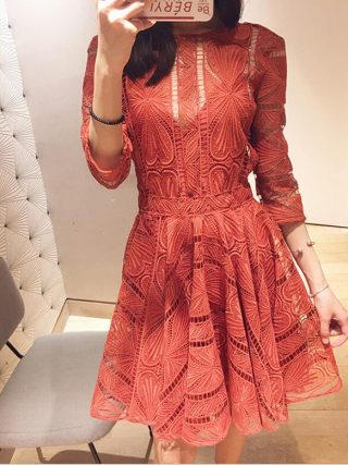Women's Dresses Embroidery Lace Hook Flower Back Hollow Out Chic O Neck Half Sleeve Elegant Dress