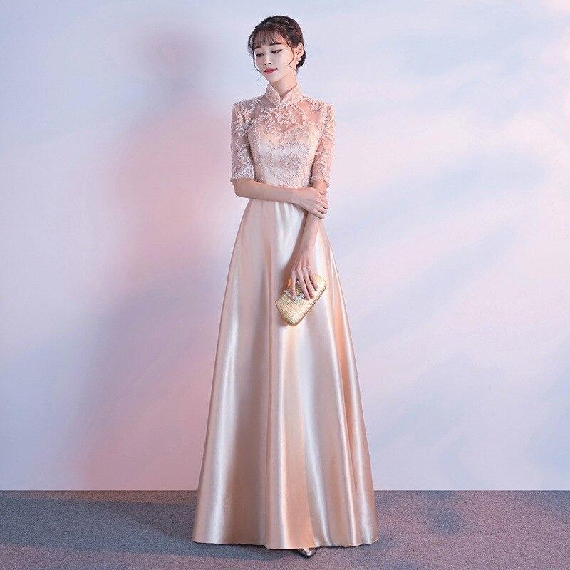 Fashion Lace Patchwork Dresses for Women Half Sleeve Long Prom Party Dresses Ladies Elegant Gowns A Line Dress Robe De Soiree 2