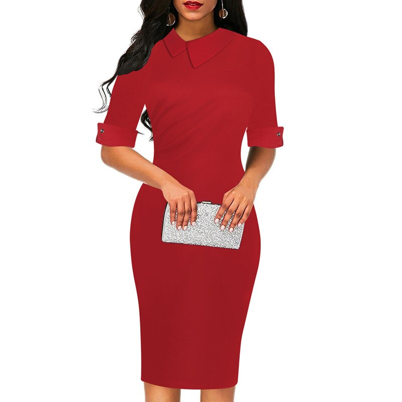 Fmasuth Red Dresses for Women Half Sleeve Knee Length Office Business Elegant Office Clothing Dress ox276