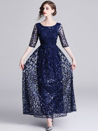Embroidery Mesh Half Sleeve Long Maxi Dress Women Spring Summer Prom Evening Party Special Occasion Wear Dresses Female
