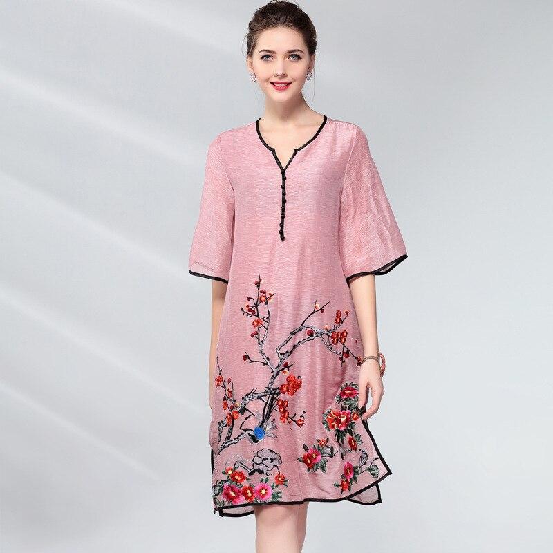 Vintage Dress Women Plus Size Silk Linen Embroidery Spring Summer Fashion V-neck Half sleeve Side split Loose A Line Dress 2