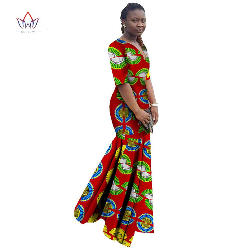 African Dresses for Women Dashiki African Print Clothing Half Sleeve Mermaid Dress Maxi Dress BRW Plus Size 6XL WY406 3