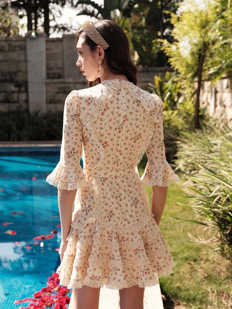 Prairie Chic Spring Boho Chic Women Floral Printed Lace Patchwork Ruffles Half Sleeve Fish Tail Dress dresses B031 3