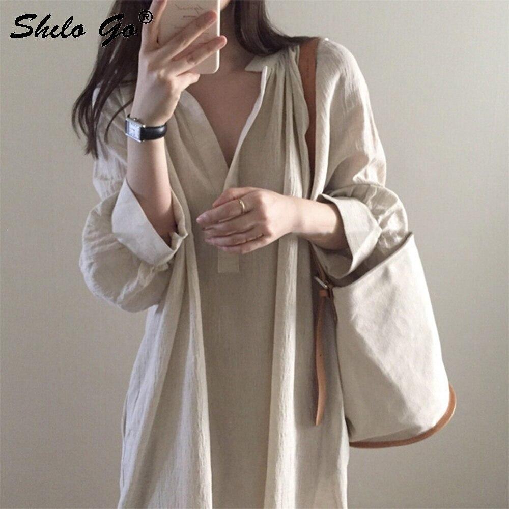 Beige Lantern Sleeve Tunic V Neck Shirt Dress Women Side Pocket Half Sleeve Summer Dress Casual Slit Hem Long Dresses Female 3