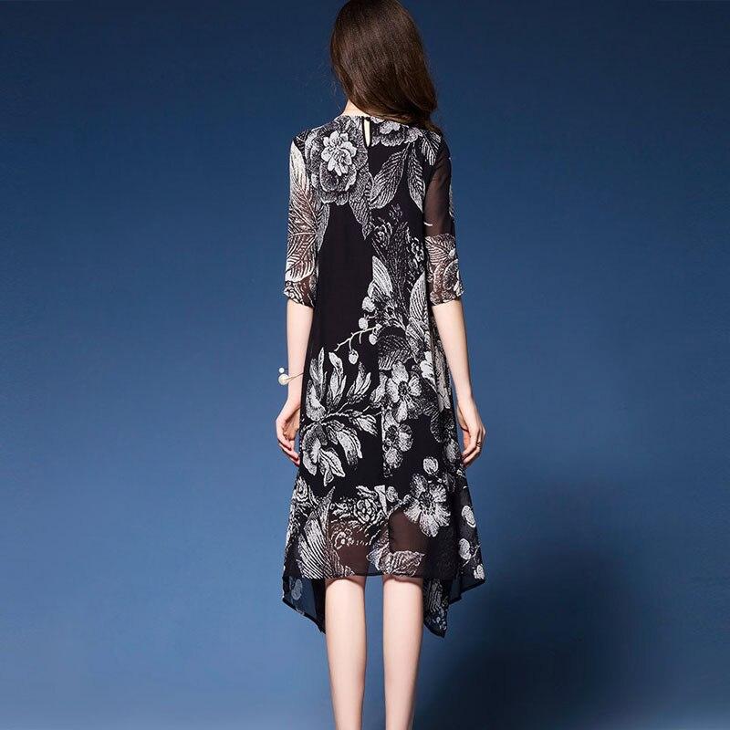 Western Fashion Floral Print Dresses Woman Half sleeve Brand Vestidos Mujer 18 Elegant Rayon Dress Summer new dress black 2