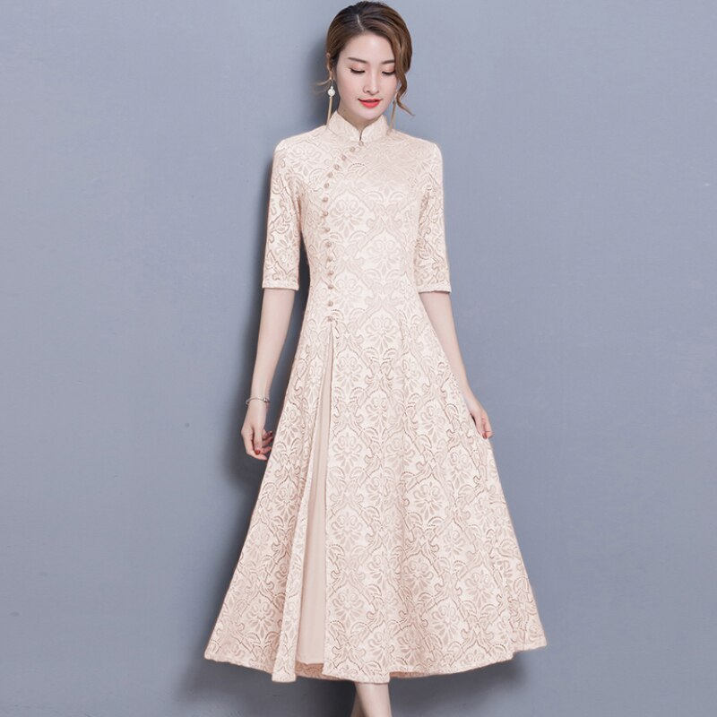 19 new vintage Lace Long dress women Summer Chinese Style A-Line dress Solid color Half sleeve Ankle-Length dress women 3