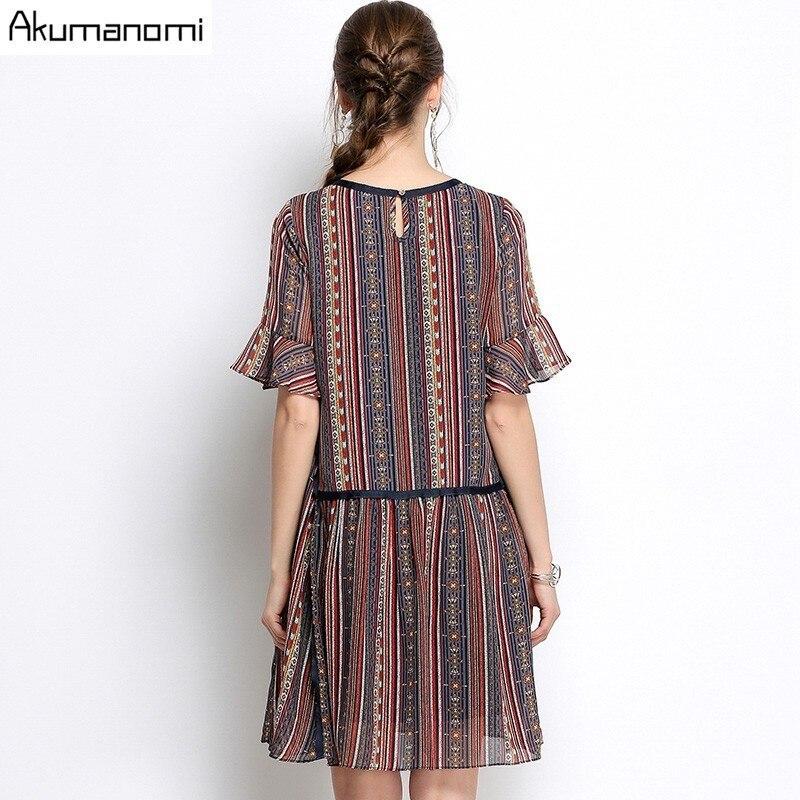 Summer Striped Chiffon Dress Women Clothing Beading O-neck Flare Half Sleeve Dress High Quality Plus Size 5XL 4XL 3XL 2XL XL L M 3