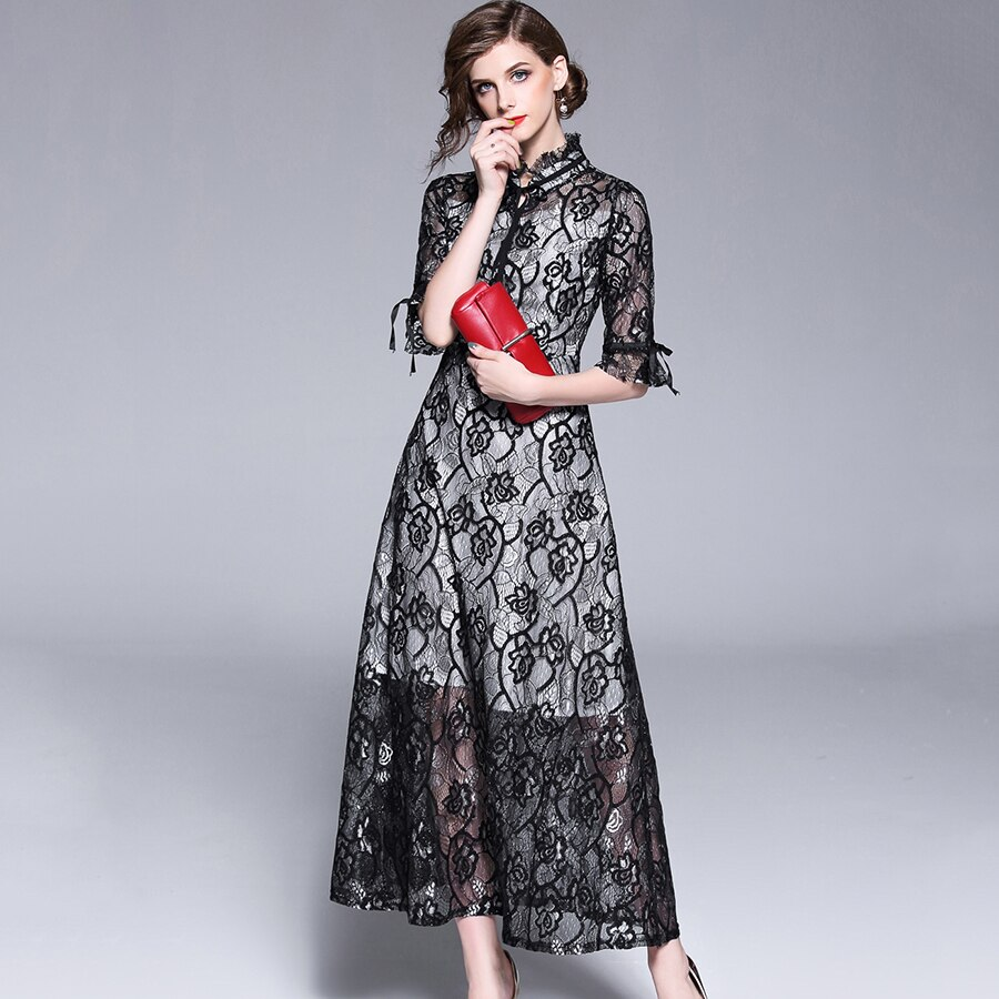 Autumn Fashion Womens Elegant Lace Dress 18 High Quality Half Sleeve Hollow Out Slim Casual Long Dresses Party Vestidos 2