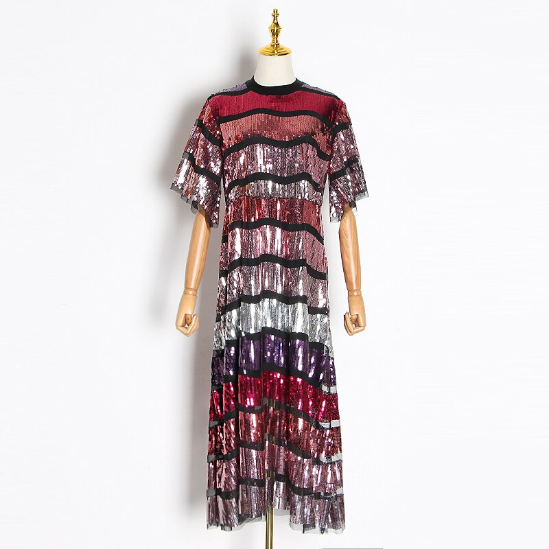 Patchwork Sequin Hit Color Dress For Female Stand Collar Flare Half Sleeve Midi Dresses Women Clothing  Fashion 2