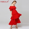YIGELILA Women Red Pleated Long Dress Fashion Slash Neck Off Shoulder Half Sleeve Empire Slim Draped Party Dress XL Size 63660