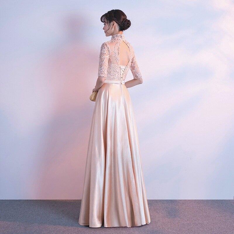 Fashion Lace Patchwork Dresses for Women Half Sleeve Long Prom Party Dresses Ladies Elegant Gowns A Line Dress Robe De Soiree 3