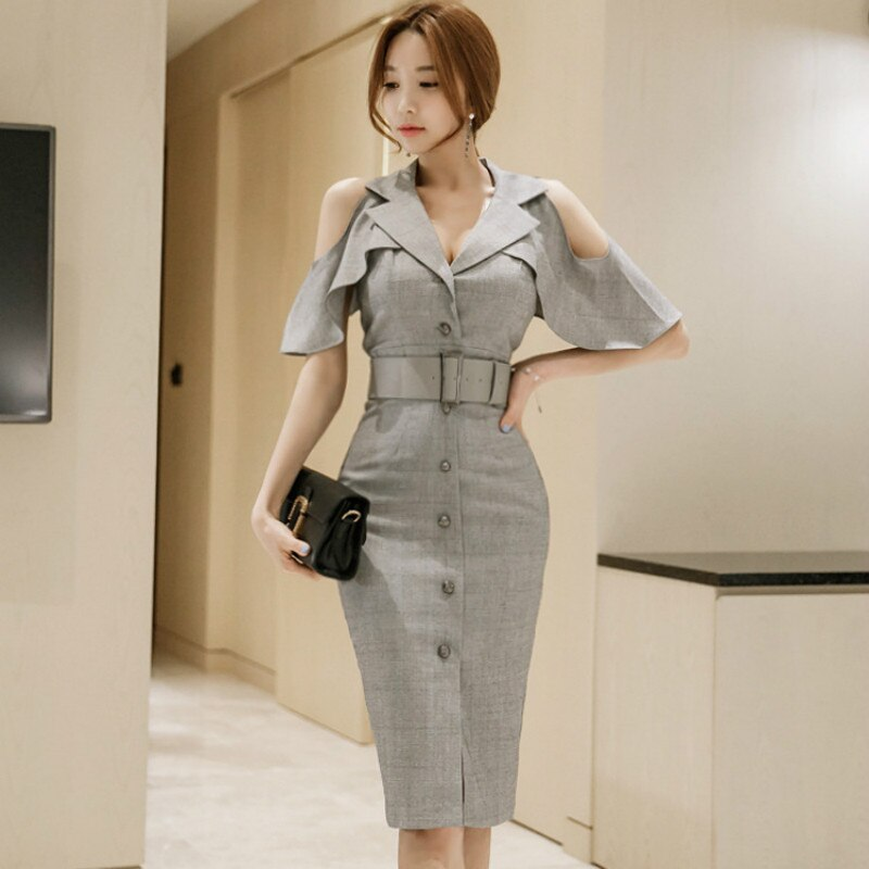 Plus Size Pencil Dress Summer Women Gray Half Butterfly Sleeve V-neck Knee-length Casual Office Lady Dress Elegant Party Dresses 2