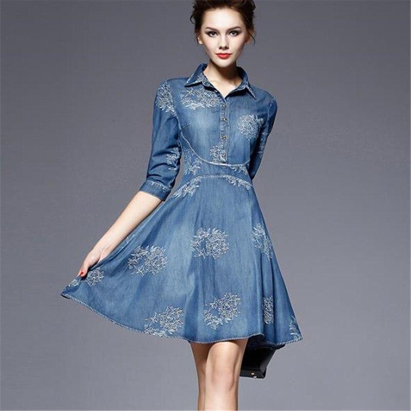 Women Denim Dress 19 Spring/summer New Europe Fashion Half sleeve Embroidery Big swing dress female Plus Size Cowboy Dresses 2