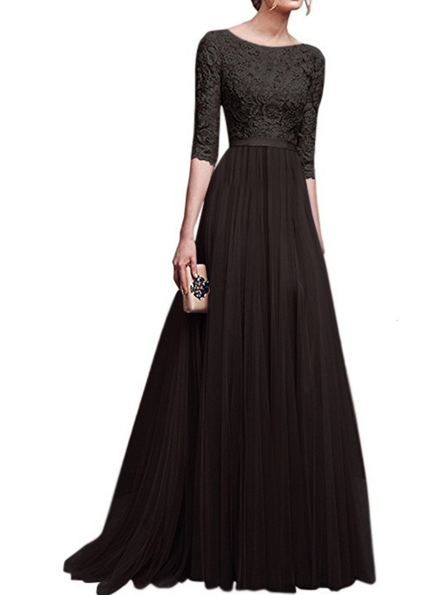 19 Autumn New Elegant Half Sleeve Chiffon Lace Stitching Women Party Prom Evening Much Color Long maxi Dress Female Clothing 3