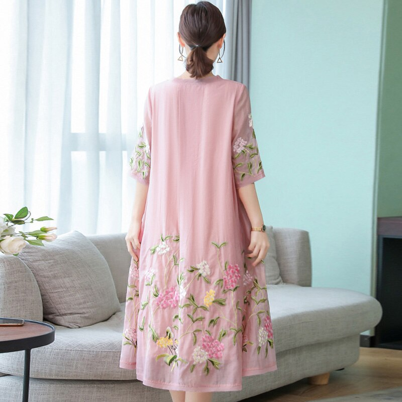 19 New National Style Women Vintage Embroidery Dresses Fashion Sweet Plus Size Half Sleeve Female Dresses Casual Loose Dresses 2