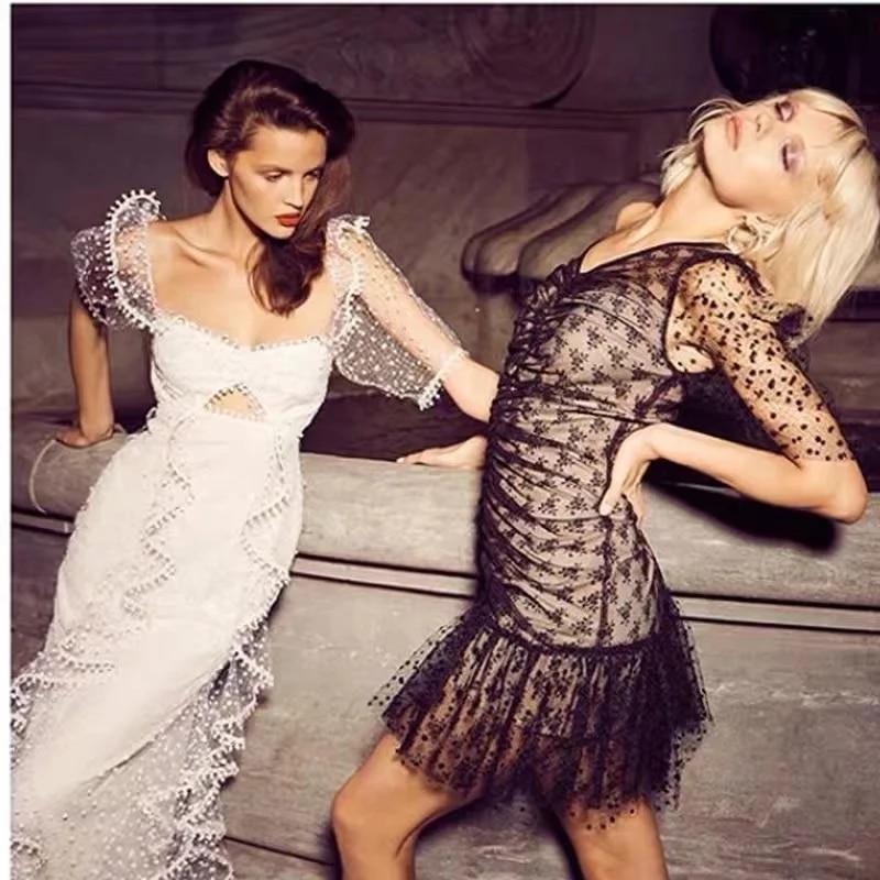 Foridol dot vintage bodycon dress women puff sleeve tulle dress v neck ruched ruffle black sheer dress vestidos  summer 1