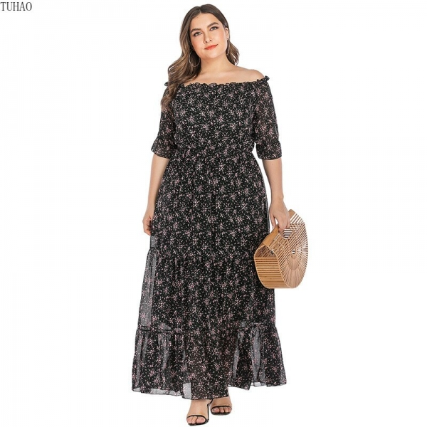 Large Size Office Ladies Slash Neck Floral Dress Half Sleeves Ruffles Stitching Maxi Dresses Woman Clothes TMZ7102