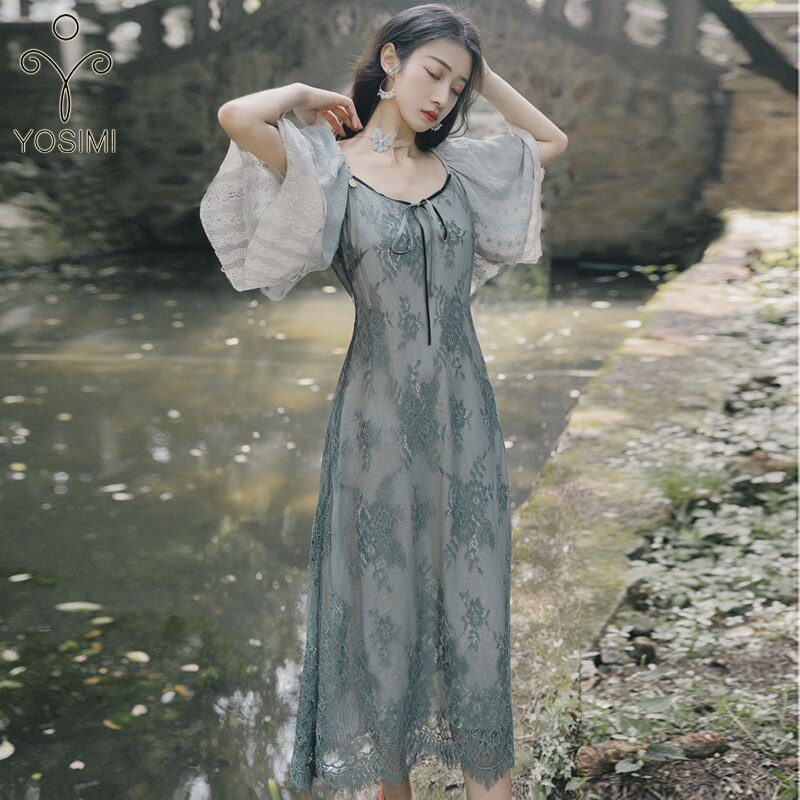 YOSIMI Women Dress 19 Summer Elegant Gray Lace Long Dress V-neck Half Sleeve Ladies Party Dress Ankle-Length Ruffles Sleeve 2
