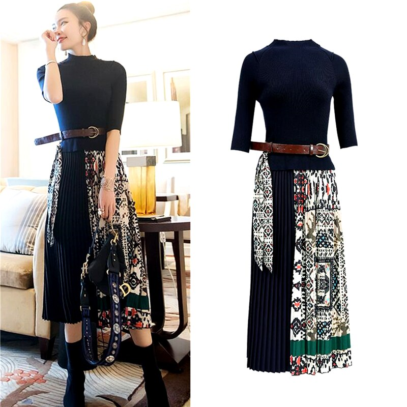 Fashion Boutique Women Knitted Dress Half Sleeve Printing Pleated Patchwork Dress Women Elegant Work wear Ladies Clothes SL175