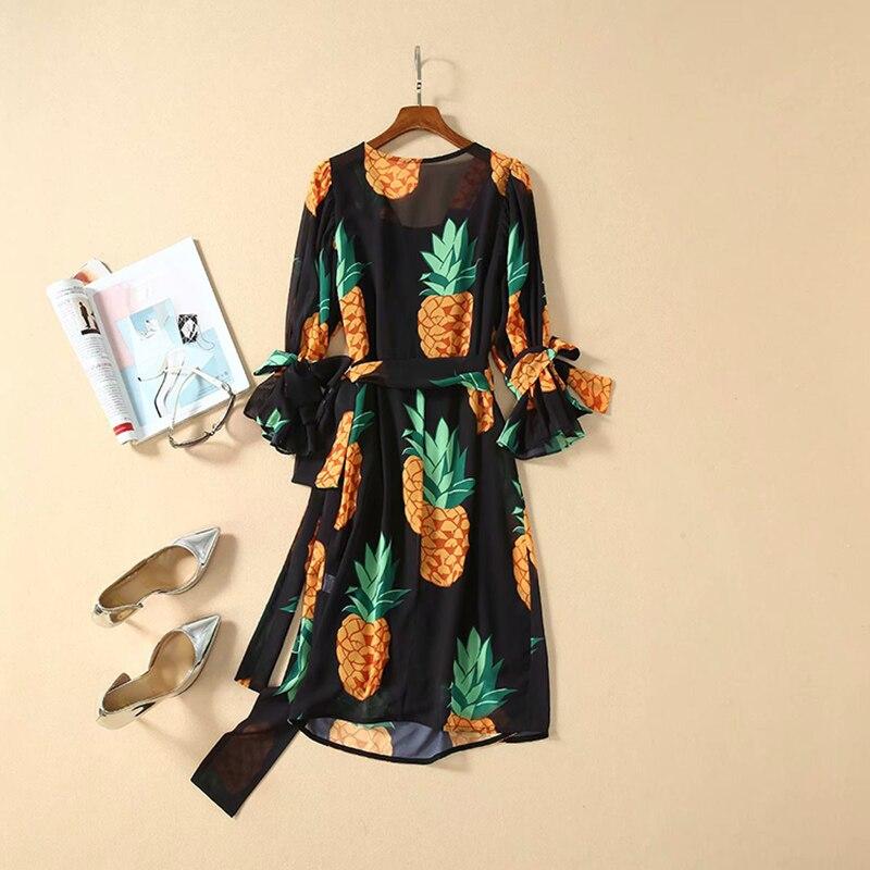 HIGH QUALITY  Newest Runway Dress Women's Half Sleeve Pineapple Print Casual DRESS 3