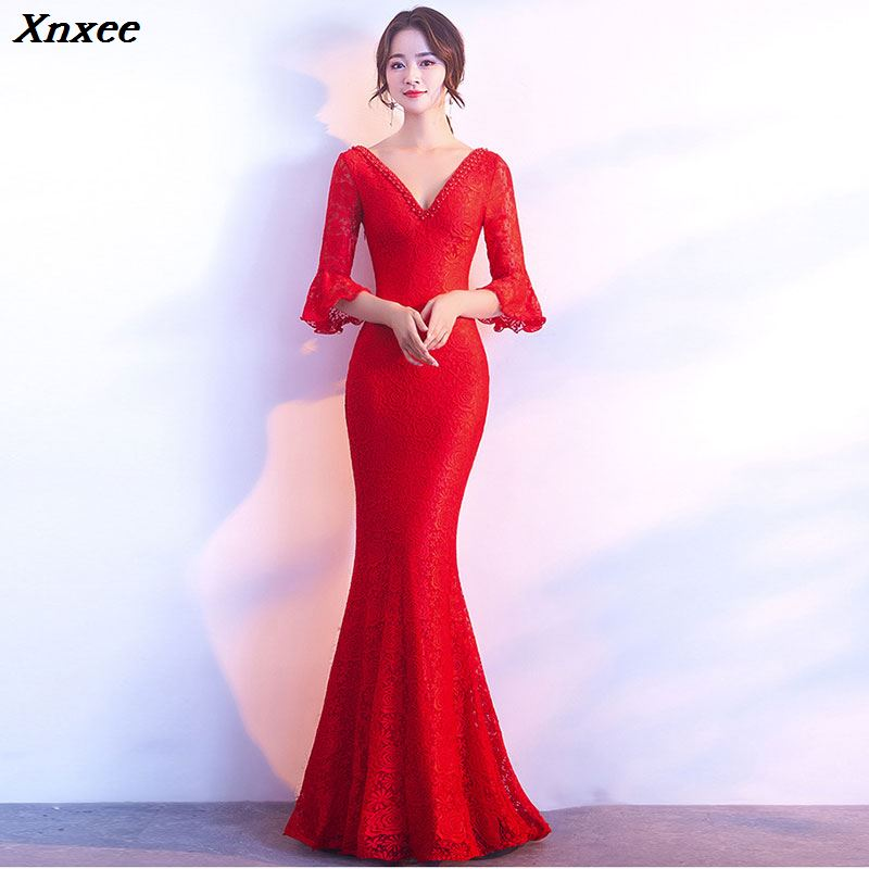Xnxee Women Elegnat Red Lace Flare Half Sleeve Mermaid Long Prom Sexy Backless Club Party Dress Xnxee 3