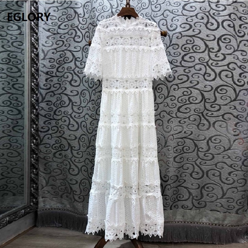 19 Autumn Fashion Long Dress High Quality Women Ruffled Collar Hollow Out Embroidery Half Sleeve Maxi Long Cotton Dress White 1