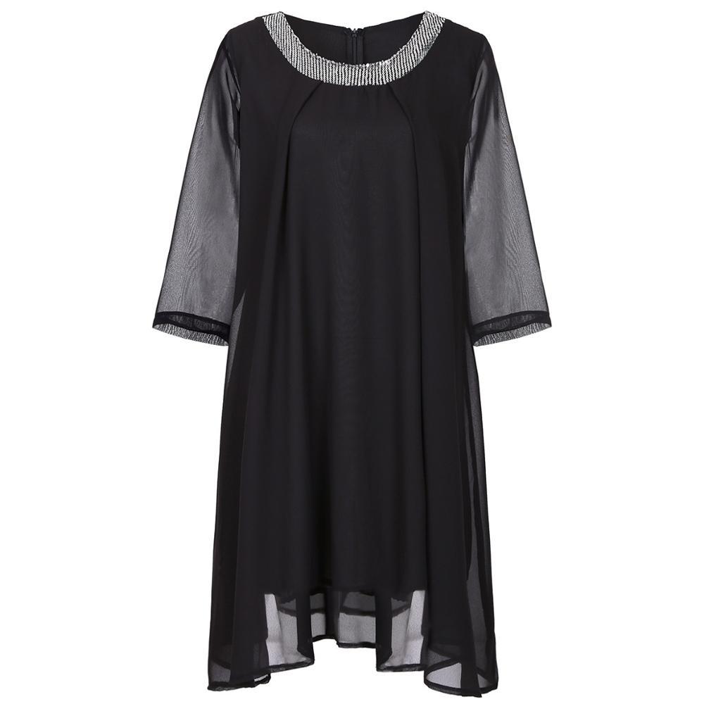 Summer Dress 19 Plus Size Women Dress Half Sleeve Chiffon Maxi Dress Elegant Ladies Party Midi Dress Robe femme 3